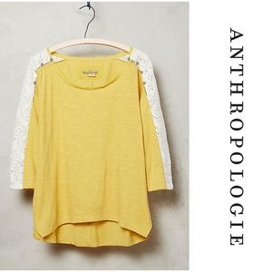 Anthropologie Little Yellow Button Mabel Knit Top